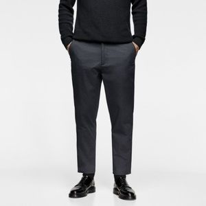 Zara 31 loose fit chino pants with belt dark blue